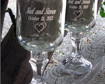 Redneck  Wine Glasses -   2 Engraved  - 16 OZ - Personalized - aka Hillbilly Wine Glasses - Wedding -Anniversary - Mason Jar