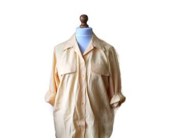 Vintage Womens Shirt, Yellow shirt, Yellow womens shirt, womens blouse, yellow blouse, summer blouse, lemon yellow shirt, simple blouse, S/M