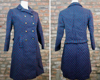 Vintage Wool Coat Women Small Pea Coat Lassie Junior B. Forman Co 1950s Long Coat Blue Purple Checkered Jacket Double Breasted Trench Coat