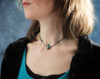 Malachite Necklace: Green Gemstone, Adjustable Black Cord, Rustic Tribal/Boho Handmade Hypoallergenic Jewelry, Gift For Her/Gift for Girls