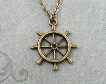 Ship Wheel Necklace Bronze Wheel Jewelry Ship's Wheel Necklace Helm Necklace Nautical Jewelry Captain Necklace Long Distance Travel Gift
