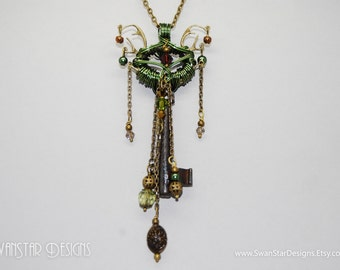 The Green Doe - Skeleton key wrapped in green enamelled copper wire, antler charms, Swarovski crystals, beads & chains - Velvet Deer
