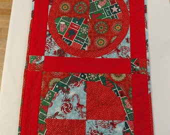 Handmade Quilted Holiday, Christmas Table Runner, Red and Green