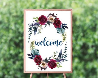 18x24 Navy Burgundy Boho Wreath Welcome Sign