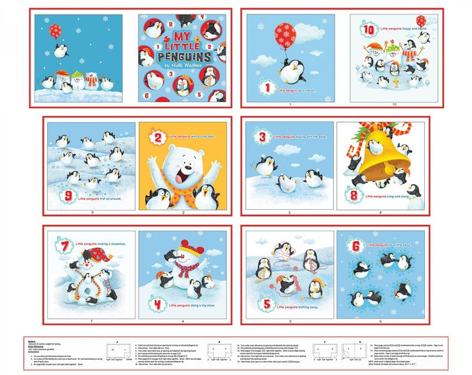 CLOTH BOOK PANEL, Penguins Parade Book Panel Cotton Panel Book 36 x 45 by Nidhi Wadhwa Collection