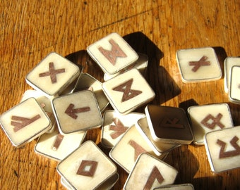 Bone and Copper Elder Futhark Runes with silver frames