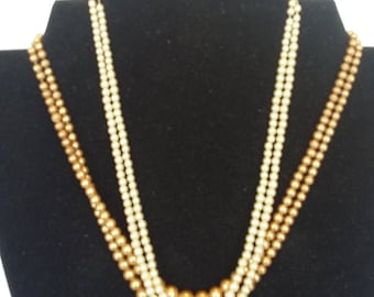 Two Pearl Necklaces w/ Sterling Silver Clasps