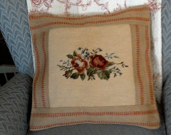 Georgous Designer One of a kind Vintage Needle Point Pillow, edged with Webbing