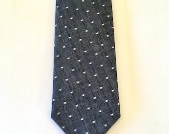 Polka dot tie, denim, indigo, cotton, wedding, groomsmen, chambray tie, custom tie, mens tie, self tie, chambray, denim, necktie
