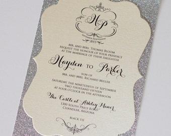 Elegant Wedding Invitation, Vintage Wedding Invitation, Glitter Wedding Invitation - Ivory, Champagne, Silver Glitter - Hayden Sample