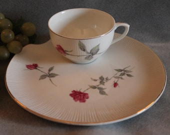 Porcelain Snack Plate and Tea Cup Handpainted with Pink Roses and Gold Accents