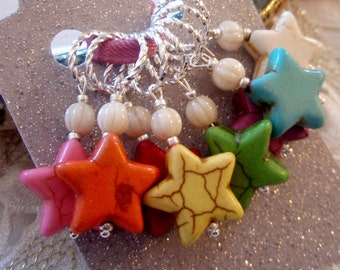 8 KNITTING Stitch Markers - Handmade Stone Star Large Charms Stitch Markers - Celestial Rainbow Set - Gift for Knitters - Knitting Notions