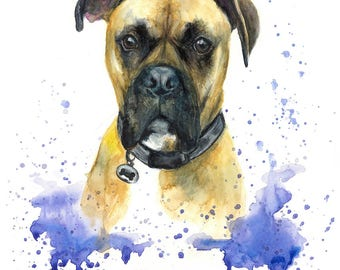 Pet Portrait custom painting illustration made with watercolours and pastels personalised