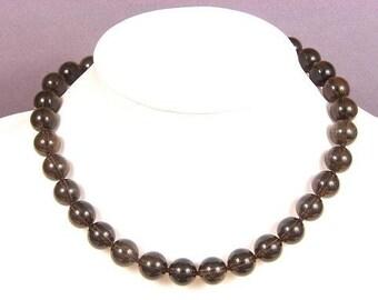 Necklace Smokey Quartz AB 12mm Round Beads NSSQ4057