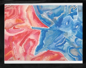 Blue and Red Abstract Card