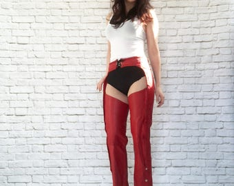 Vintage 90s Red Leather Braided Chaps Motorcycle Biker Pants S M Lace-Up Buckle Zip Snap Cropped Steampunk
