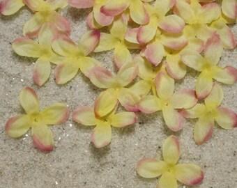 Hydrangea Silk Petals - Wedding Decorations - 400 Silk Petals - Pink and Yellow Flower Petals