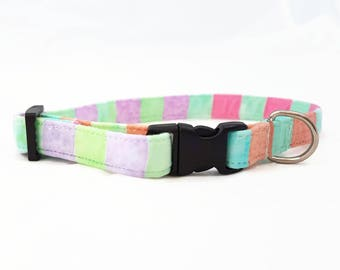 "Cat Collar Breakaway  - ""Pastel Rainbow"" - Safety Cat Collar - Candy/Pastel Colors - Rainbow/Colorful/Cute - Safe Cat Collars - Soft/Durable"