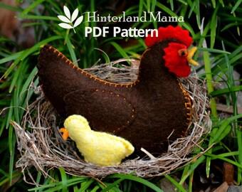 PDF Felt Chicken Pattern - Waldorf Felt Animal Pattern / Chicken Family - Felt Hen pattern - Waldorf Easter Craft - Felt sewing pattern