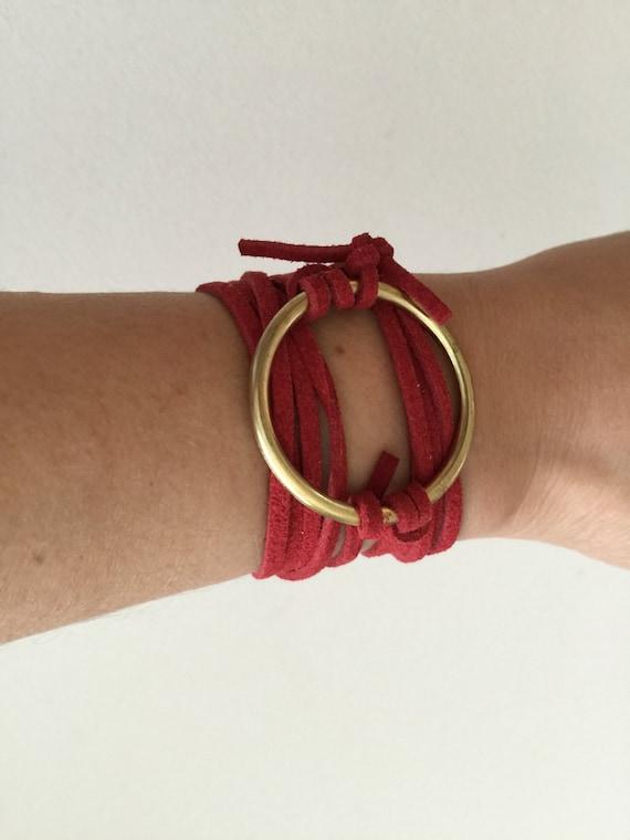 Valentina Red Suede & Gold Wrap Bracelet