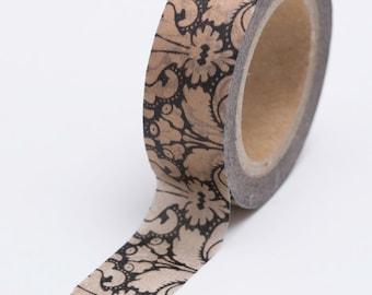 Washi Tape - 15mm - Metallic Copper Wallpaper Floral on Black - Deco Paper Tape No. 642