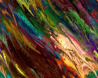 Handmade Artisan Textile Art Velvet Upholstery Fabric Fiber Art Fabric Fall Flames Brilliant