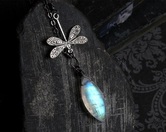 "Moonstone Necklace, Dragonfly Necklace, Moonstone Jewelry, Moonstone Pendant, Oxidized Sterling Silver, CircesHouse, ""Moonwings"""