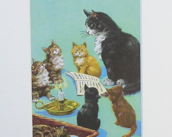 Cat and Kittens - Original vintage Ladybird Book print, Mounted/ Matted Ready for Framing