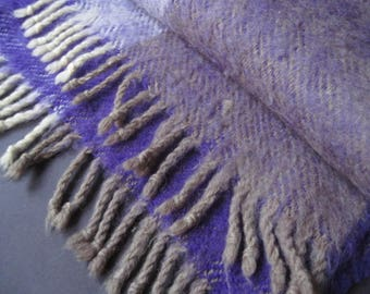 Vintage Purple and Gray Scarf or Throw Made in Finland