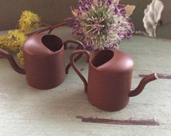 "Miniature Rusty Watering Cans,  1.25"", Packaged Set of 2 Pieces, Fairy Garden Accessory, Garden Decor, Primitives, Miniature Gardening"