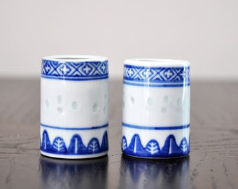 Set of Vintage Blue & White Oriental Toothpick Holders / Ceramic / Kitchen / Baking / Gifts under 15 / Unique / Stylish / Food Styling