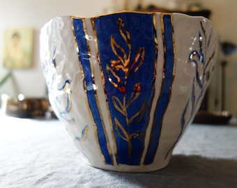 Imperfect Large Serving Bowl with Olive Branch Motif in Blue and Gold