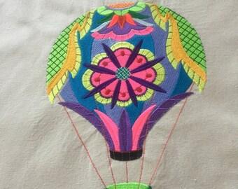 Embroidered tote bag, book bag, reusable shopping bag, balloon, hot air baloon