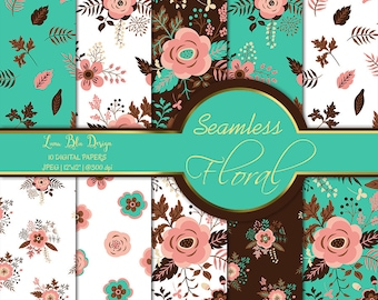 Floral Digital Background, floral digital paper commercial, floral digital backdrop, floral scrapbook paper, digital paper floral clipart