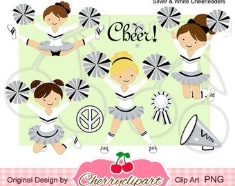 Silver & White Cheerleader  Digital Clipart Set for -Personal and Commercial Use-paper crafts,card making,scrapbooking,web design