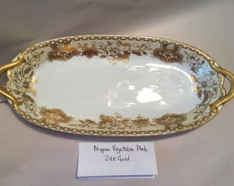 """Beautifully Hand Painted 24K Gold  13"""" Vintage Nippon Oval tray."""