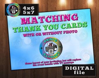 Matching Thank You Card, Custom DIGITAL File