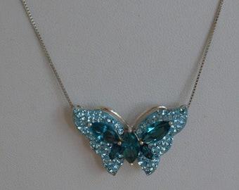"Light Blue, Aqua Blue Crystal Butterfly Necklace, 18"", Sterling Silver (AL4)"