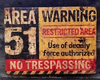 Area 51 Antiqued Wooden Sign