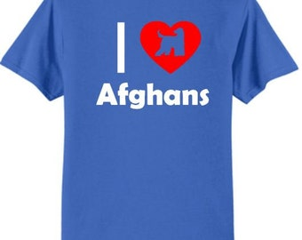 Dogs - I Love Afghans T-Shirt