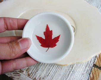 Fall Maple Leaf Ring Dish, Small Jewelry Organizer, Ring Dish, Jewelry Holder, Catchall Dish, Nature Lover Gift
