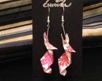 Rabbits (Spring cherry blossoms) [ Origami earrings ]