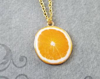 Orange Necklace Orange Jewelry Orange Slice Charm Necklace Orange Pendant Necklace Citrus Fruit Necklace Food Jewelry Fruit Jewelry Gift