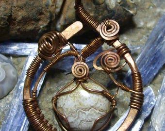 Copper Wrapped Agate Pendant