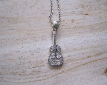 Silver Guitar Necklace - Silver Rhinestone Guitar Necklace - Guitar Jewelry - Guitar Necklace - Music Necklace - Rock Star Necklace