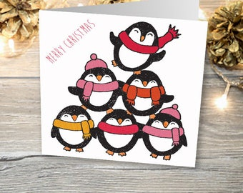 Tower of Penguins Christmas Cards