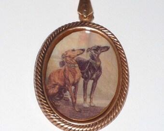 Alt Art 2 Greyhound Dogs on Copper Pendant Necklace