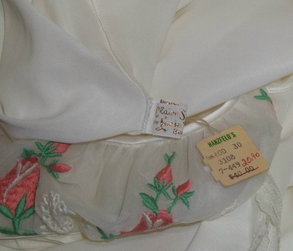 Claire Nylon Sweep Vintage White Deadstock Full NOS Nightgown By 32 Lucie Chiffon Ann Sandra 0PEfn