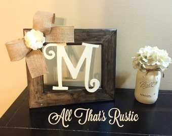 Rustic Tabletop Initial Frame, Initial Frame, Personalized Decor, Table Decor, Picture Frame, Rustic Home Decor, Rustic Decor, Wood Letters