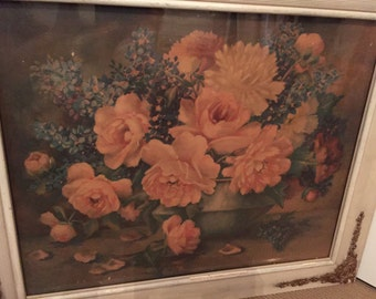 ON HOLD! Please do not purchase! Antique Lithograph Pink Peonies Gesso Frame